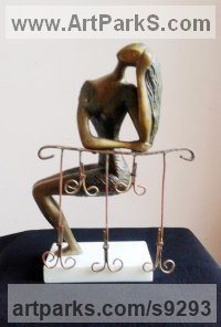 Brass Abstract Modern Contemporary Sculptures Statues statuettes figurines statuary sculpture by Zakir Ahmedov titled: 'Girl on the balcony'