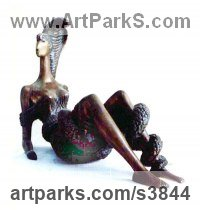 Bronze Females Women Girls Ladies Sculptures Statues statuettes figurines sculpture by Zakir Ahmedov titled: 'Girl with Snake (Little Stylised Reclining statues)'