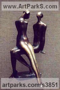 Bronze Nude or Naked Couples or Lovers sculpture by Zakir Ahmedov titled: 'I am and She (Bronze Small Young nude Lovers statues)'