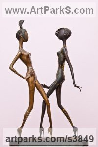 Bronze Nude or Naked Couples or Lovers sculpture by Zakir Ahmedov titled: 'Modern Moda (Contemporary nude Catwalk Models sculpture)'