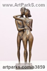 Bronze Wedding Anniversary Gift or Present Sculptures Statues statuettes sculpture by Zakir Ahmedov titled: 'Moment (Stylised Contemporary Naked Lovers stauette)'