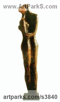 Bronze Nude or Naked Couples or Lovers sculpture by Zakir Ahmedov titled: 'Rain (abstract Hugging Embracing nude Couple statues)'