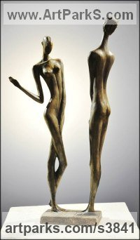 Bronze Nude or Naked Couples or Lovers sculpture by Zakir Ahmedov titled: 'Rain 1985year bronza 52X12X10 cm'