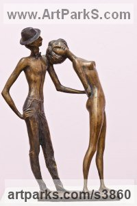Bronze Nude or Naked Couples or Lovers sculpture by Zakir Ahmedov titled: 'Retro (Bronze Lovers Meet again Figurine statuette, statues)'