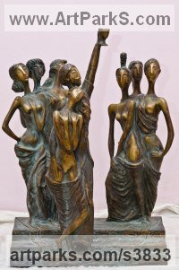 Bronze Nude or Naked Couples or Lovers sculpture by Zakir Ahmedov titled: 'Seven Beauties (nude Semi Naked Girls Standing statue)'