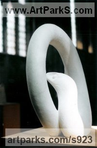 Reptiles Sculpture and Amphibian Sculpture by sculptor artist Zo� de L`Isle Whittier titled: 'Snake (Carved white marble garden statue/statuette/sculpture)' in Statuary marble