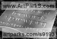 Slate Carved and Engraved Lettering Writing Inscriptions Poems Quotations Carving Panels sculpture by Zoe Singleton titled: 'Forwards and Backwards (Carved garden Motto plaques)'