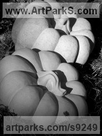 Portland Stone Organic / Abstract sculpture by Zoe Singleton titled: 'The Portland Pumpkin'
