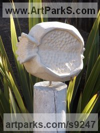 Bath Stone Fruit sculpture by Zoe Singleton titled: 'Zagora (Carved stone Pomegranate Fruit sculpture statue)'