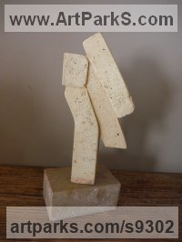 Antique Brick Angular Abstract Modern Contemporary sculpture statuary sculpture by Zsolt Mikula titled: 'Angels from columns (abstract Small statuette statue)'