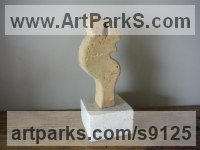 Carved Antique Brick Angel sculpture by Zsolt Mikula titled: 'Modern Angel II (Contemporary Small ceramic statuette)'