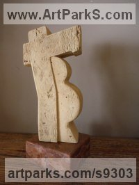 Carved Antique Brick Angular Abstract Modern Contemporary sculpture statuary sculpture by Zsolt Mikula titled: 'Resting (Modern Contemporary Shreltering sculpture)'