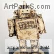 Ceramic Indoor Inside Interior Abstract Contemporary Modern Sculpture / statue / statuette / figurine sculpture by sculptor Paul Cox titled: 'robot'