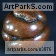Bronze Small Animal sculpture by sculptor Adam Binder titled: 'Ball Python (Little Coiled Snake statuettes statues)'