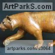 Bronze Small Animal sculpture by sculptor Adam Binder titled: 'Burning Bright (Small Indoor Pacing Tiger statuettes)'