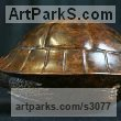 "bronze Animal Kingdom sculpture by Adam Binder titled: ""Tortoise (Life Sizs Hiding Tortoise bronze sculptures/statuettes/statue)"""