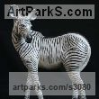 "bronze Donkeys Zebras Mules Asses and Unicorns sculpture / statue by Adam Binder titled: ""Zebra Foal (Little bronze Equine African Wild Life sculptures/statuette)"""