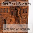 Wood High Relief or Haute Relief Carving Sculpture Wall Panel casting in Bronze / Copper sculpture by sculptor Adrian Arapi titled: 'Old street in Berati town (High relief Street Scene panel)'