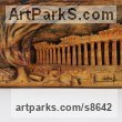 Wood Architectural sculpture by sculptor Adrian Arapi titled: 'Acropolis (Low Relief AncientLand Mark Wall sculpture)'