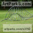 Iron Organic / Abstract sculpture by sculptor Adrian Payne titled: 'Fallen Leaf (Big Outsize Iron Skeleton garden statue)'