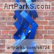 Steel Wall Mounted or Wall Hanging sculpture by sculptor Adrian Payne titled: 'Out of the Blue (Steel abstract Contemporary Wall Hanging sculpture)'