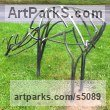 Steel Animal Abstract Contemporary Modern Stylised Minimalist sculpture by sculptor Adrian Payne titled: 'Roe Deer (Feeding Semi abstract Minimalist Steel Bar sculpture)'