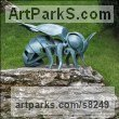 Glazed fireclay Insect Sculptures, to include Bees, Ants, Moths, Butterflies etc sculpture by sculptor �gnes Nagy titled: 'Bee (glazed fireclay Stylised Contemporary abstract Bee statue)' - Artwork View 1