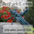 Bronze Garden Or Yard / Outside and Outdoor sculpture by sculptor Ágnes Nagy titled: 'Grasshopper (Bronze Outsize Big garden sculpturette)' - Artwork View 2
