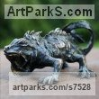 Bronze Reptiles Sculptures and Amphibian sculpture by �gnes Nagy titled: 'Iguana (Stylised Bronze Lizard garden statue sculpture)'