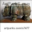 Bronze Stylized Animals sculpture by �gnes Nagy titled: 'Rhino (Bronze Small Little Stylised Rhinoceros statues)'