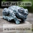 Bronze Small Animal sculpture by sculptor �gnes Nagy titled: 'Toad (bronze Stylised Warty Squatting Resting Toad sculpturette)'