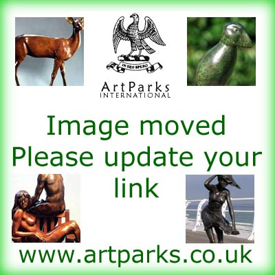 "bronze resin Sculpture of Children by Alan Biggs titled: ""Cart Wheeler (bronze resin Happy Girl Child Playing statues)"""