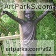 "bronze resin Sculpture of Children by Alan Biggs titled: ""Mara (Little Girl Dancing garden Yard Outdoor Cold Cast statues)"""