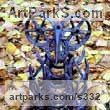 Scrap Metal Varietal Mix of Bird Sculptures or sculpture by sculptor Alan Jack titled: 'Owl 9'