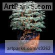 Cubic Zirconia Stones, twisted Wire and Wood Tree Plant Shrub Bonsai sculpture statuette by sculptor Alarik Greenland titled: 'The Great Chestnut (Bonsai sculpture of Ancient Tree)'