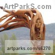 Wood Carved Wood sculpture by sculptor Aleksandar Tosic titled: 'Flower (Carved Wood abstract female Face sculpture)'