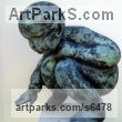Bronze Human Figurative sculpture by sculptor Alison Bell titled: 'Wee Giant (Bronze Baby Squatting Sitting garden Yard sculpture)'