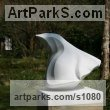 White Carrara marble Abstract Contemporary Modern Outdoor Outside Garden / Yard Sculptures Statues statuary sculpture by Almuth Tebbenhoff titled: 'Turning Point (Carved marble abstract statues)'