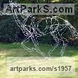 Galvanised welded steel Garden Or Yard / Outside and Outdoor sculpture by sculptor Amy Goodman titled: 'Galloping Thoroughbred (Race Horse Outside sculptures)' - Artwork View 1