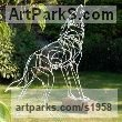 Galvanised welded steel Dogs Wild, Foxes, Wolves, Sculptures / sculpture by sculptor Amy Goodman titled: 'Howling Wolf (Wire Yard garden Yard sculpture)'