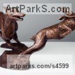 Bronze Dogs sculpture by sculptor Amy Goodman titled: 'Lurcher and Hare (Little Bronze Chase sculpture/statuette/figurine)' - Artwork View 3