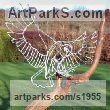 Galvanised welded steel and driftwood Garden Or Yard / Outside and Outdoor sculpture by sculptor Amy Goodman titled: 'Owl and Driftwood (Wire Modern landing sculpture)'