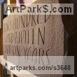 Red Sandstone Garden Or Yard / Outside and Outdoor sculpture by sculptor Anna Louise Parker titled: '215000000 Years (Carved Lettering in stone Slab Panel Block statue)' - Artwork View 2