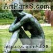 Bronze Nude sculpture statue statuette Figurine Ornament sculpture by Anne Curry titled: 'nude in garden (Slim Naked Woman Girl Yard sculptures)'