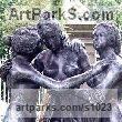Bronze Nudes, Female sculpture by sculptor Anon of the East titled: 'The Three Graces (Modern bronze Tributes to Boticellis nude Girl)'