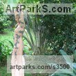 Sunset red marble Garden Or Yard / Outside and Outdoor sculpture by artist Anon of the Orient titled: 'Dancing Girl (nude Pink Carved marble life size Flower Garlands statue)' - Artwork View 5