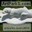 Limestone Wild Animals and Wild Life sculpture by Anthony Bartyla titled: 'Otter (Carved Stone Hunting garden Yard sculpture)'