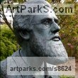Bronze Historical Character Statues / sculpture by Anthony Smith titled: 'Alfred Russel Wallace Bust (Lifesize Head statues)'