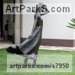 Bronze Garden Or Yard / Outside and Outdoor sculpture by sculptor Anthony Smith titled: 'Girl with Flowing Dress (life size Yard garden statue)' - Artwork View 2