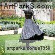 Bronze Garden Or Yard / Outside and Outdoor sculpture by sculptor Anthony Smith titled: 'Girl with Flowing Dress (life size Yard garden statue)' - Artwork View 3